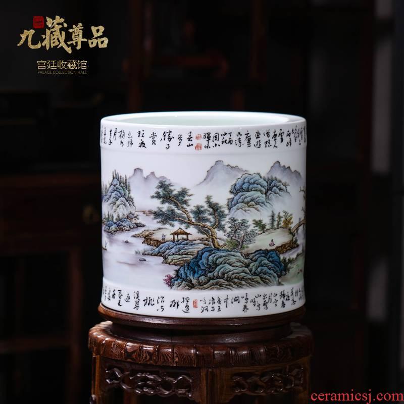 The Master of jingdezhen ceramics hand - made pastel landscape brush pot vase household craft sitting room adornment furnishing articles