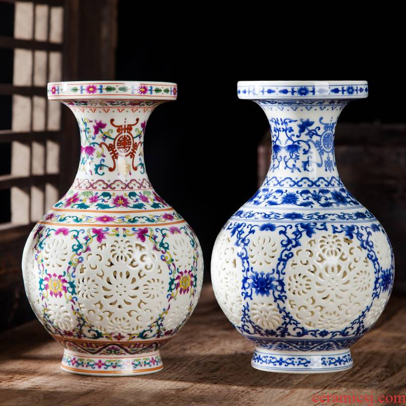 Jingdezhen ceramics vase furnishing articles creative hollow out blue and white porcelain flower arranging home wine ark of I sitting room adornment