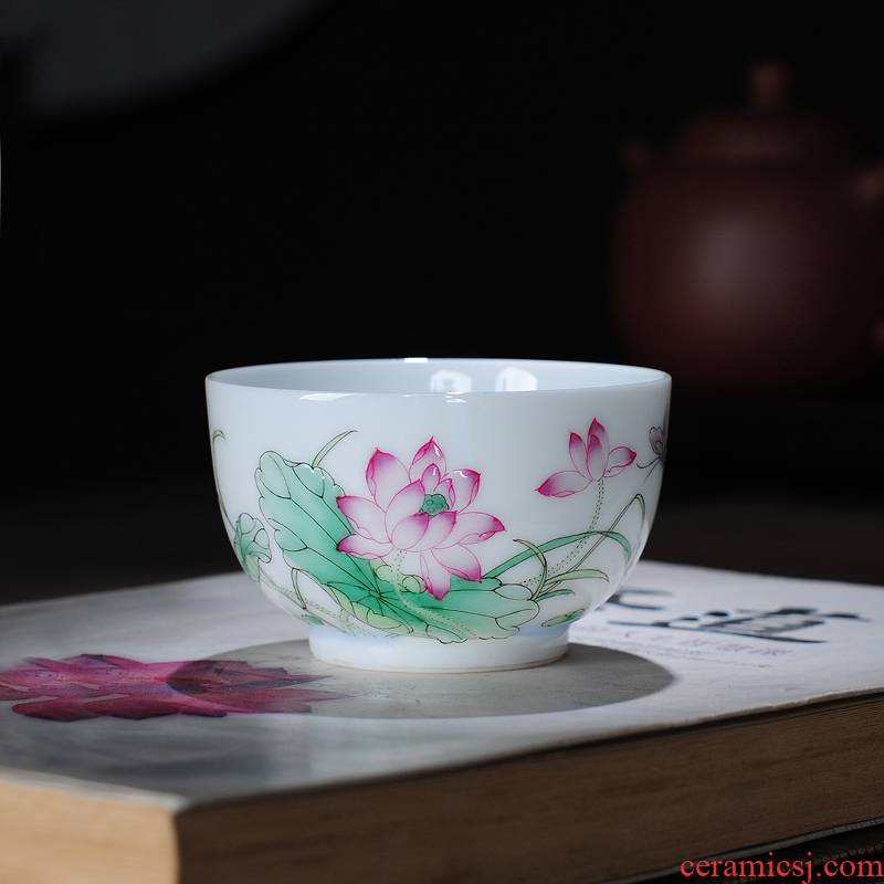 The Owl up jingdezhen tea master kung fu tea cup jade hand made lotus mud small round cup pure and fresh and elegant