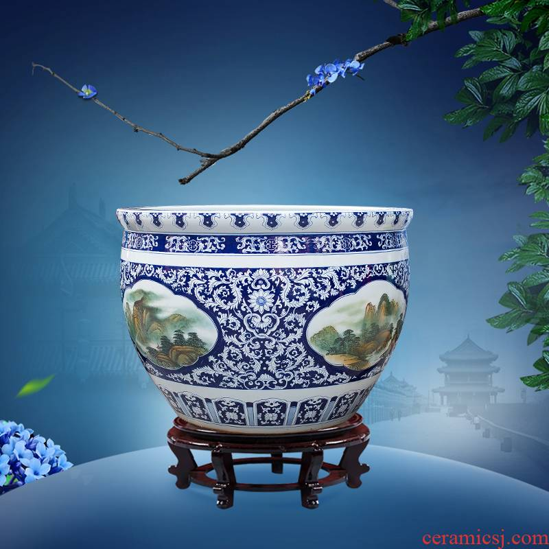 Pure hand draw blue and white porcelain of jingdezhen ceramic aquarium heavy large fish bowl courtyard gardens furnishing articles geomancy fortune