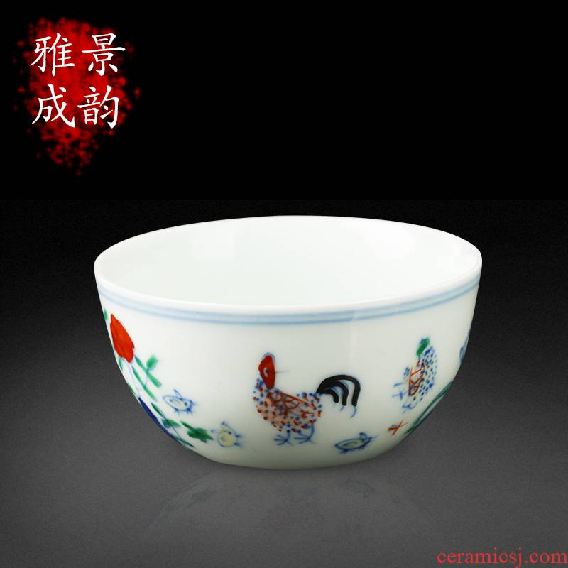 New Chinese style chicken cylinder cups porcelain jingdezhen ceramics home tea rich ancient frame handicraft ornament small place