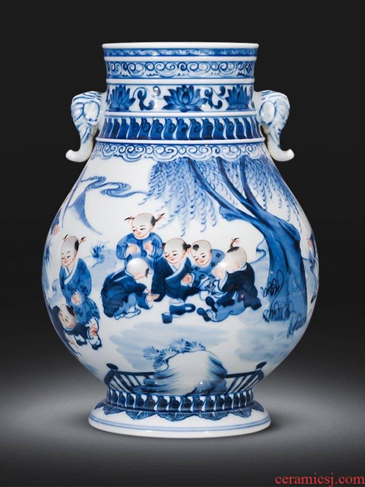Jingdezhen ceramics ears antique Chinese blue and white porcelain vases, flower arrangement rich ancient frame furnishing articles sitting room adornment