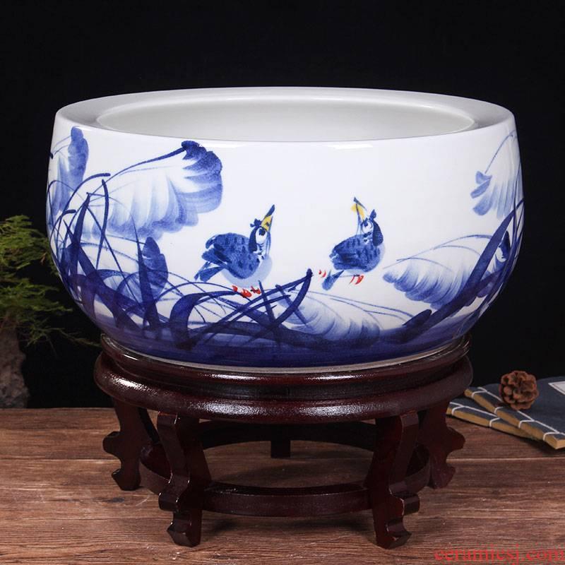 Blue and white porcelain of jingdezhen ceramics shallow daikin aquarium tortoise refers to flower pot furnishing articles large cylinder water lily