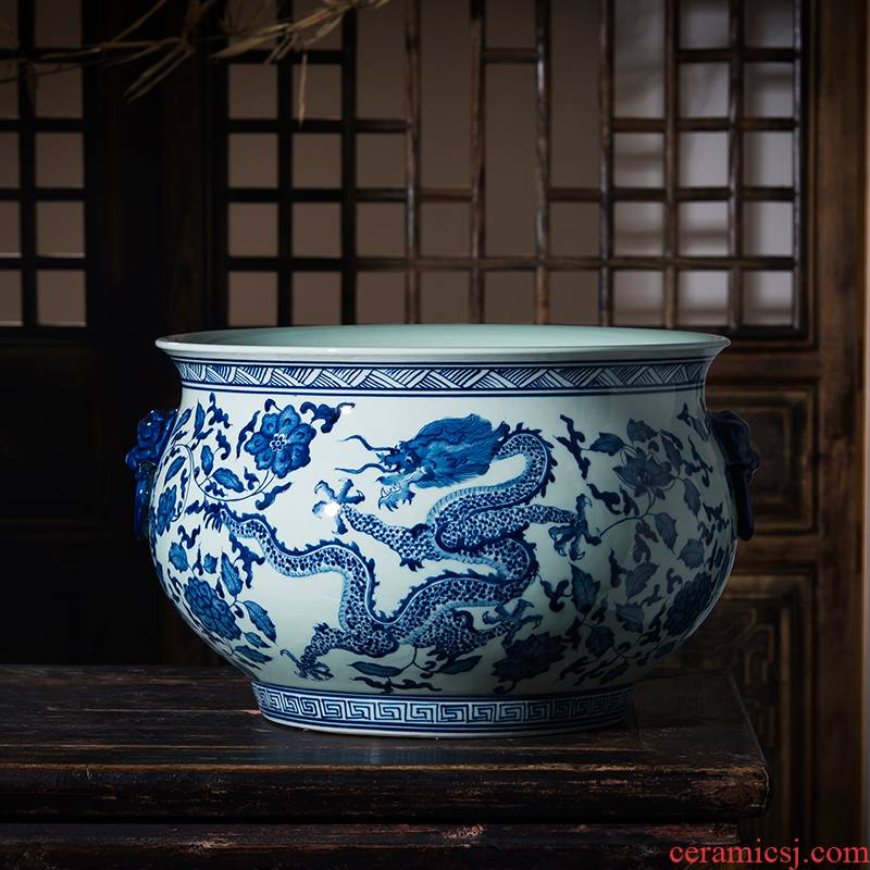 Imitation of qianlong year pure hand - made cornucopia of blue and white porcelain of jingdezhen ceramics porch decorate feng shui plutus furnishing articles