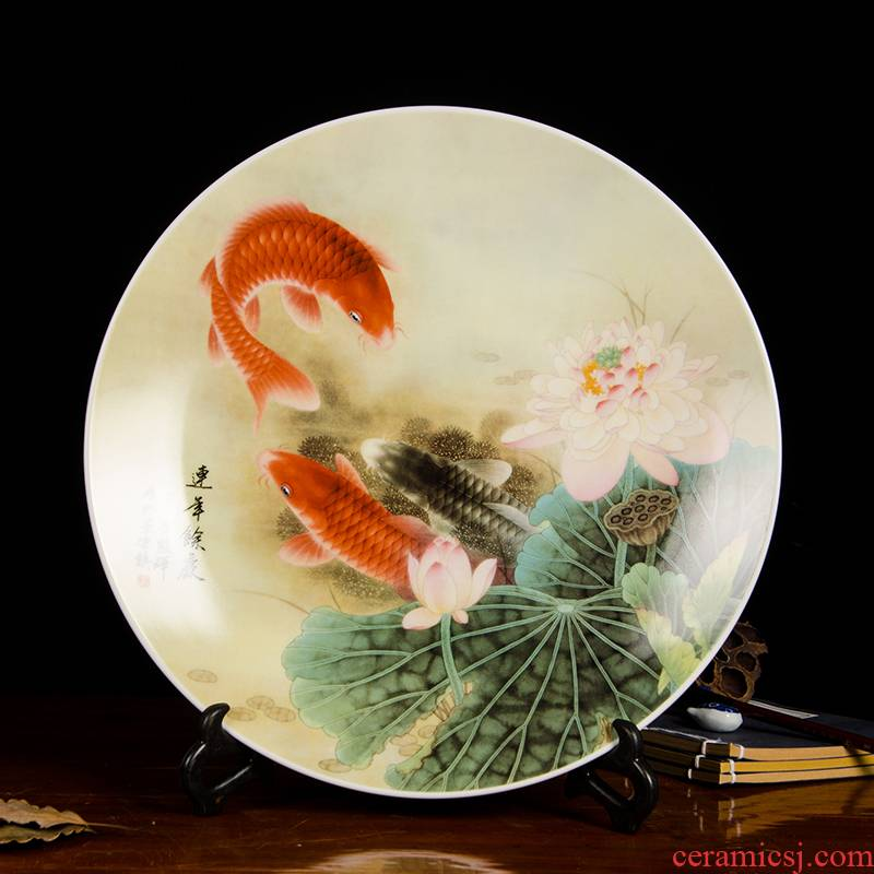 Z034 jingdezhen ceramics decorated modern Chinese style pastel hang dish dish sitting room adornment furnishing articles in successive years