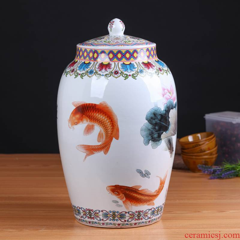 Jingdezhen ceramic new Chinese style household barrel ricer box sitting room kitchen general storage can act the role ofing is tasted furnishing articles