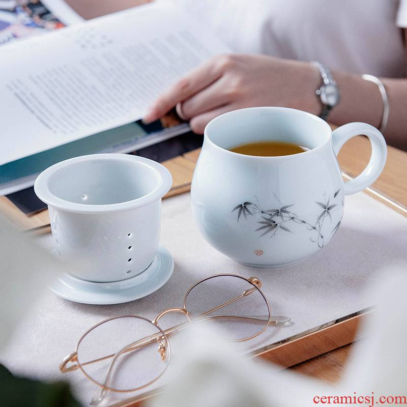 Get in the office tea jingdezhen ceramic filter with cover one cup tea cup tea separation of household
