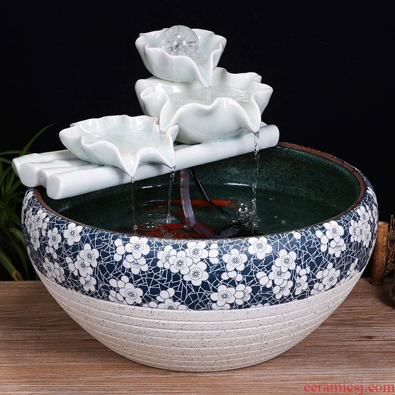 Jingdezhen ceramic tank sitting room desktop fountain water tank household small feng shui aquarium fish bowl