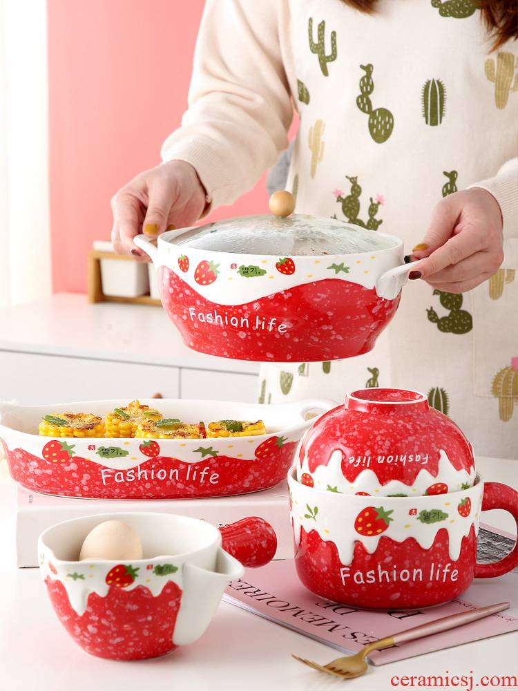 Ceramic bowl with a single, lovely strawberry students creative move eat mercifully rainbow such as bowl with cover with the handle cutlery