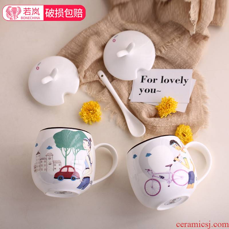 Han edition valentine 's children students creative move mark cup with cover glass ceramic cup with a spoon, custom ipads porcelain cup