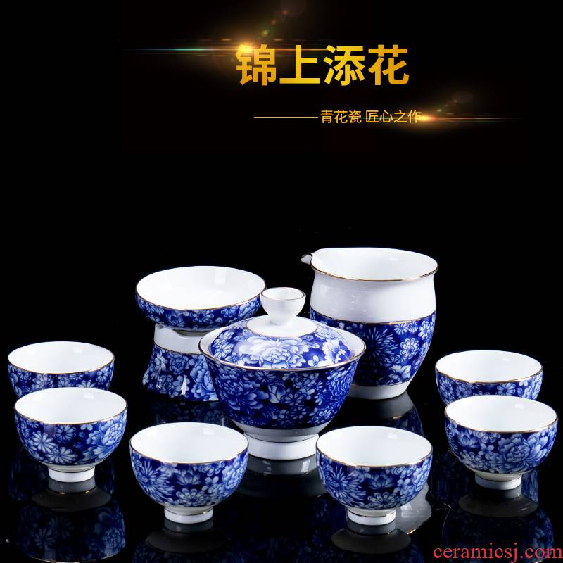 Jane mass of a complete set of hand draw blue and white porcelain tea set kung fu tea tureen suit ceramic household contracted teapot