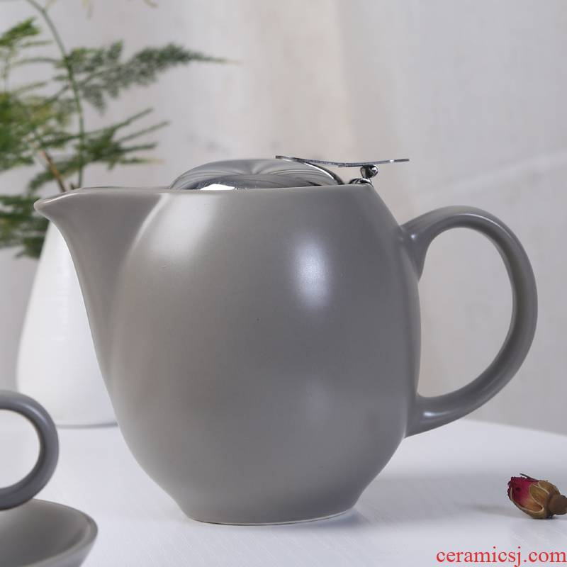 Matte enrolled ceramic teapot set home tea machine filter office coffee pot contracted pot of tea