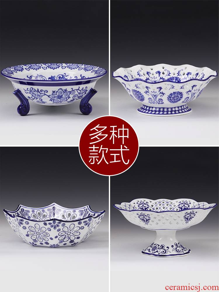 Vintage blue and white porcelain ceramic fruit bowl furnishing articles for tray table dry fruit tray was creative household classical household ornaments