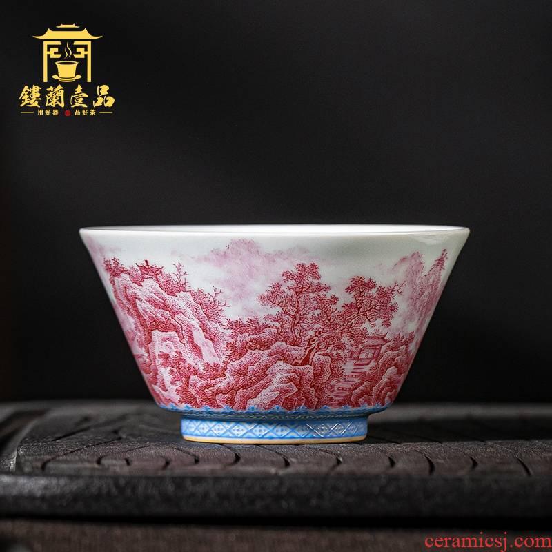 Jingdezhen ceramic all hand - made carmine landscape figure master cup kung fu tea tea cup single cup bowl