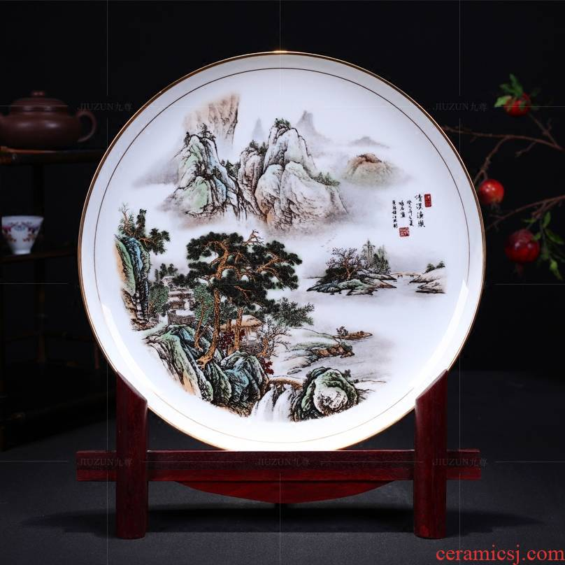 Jingdezhen ceramics decoration hanging dish of modern Chinese style living room paint qingxi yu le sat dish dish crafts