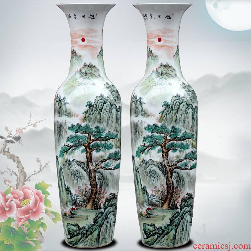 Jingdezhen ceramics hand - made sun dongsheng pastel flower arranging landing big vase home sitting room hotel furnishing articles
