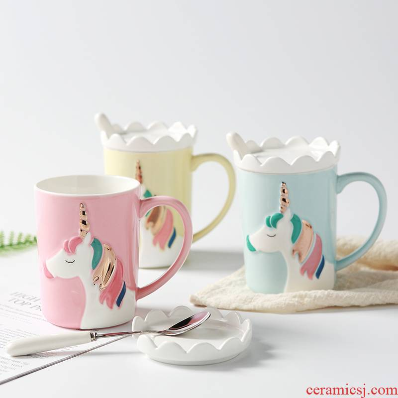 The Ins Nordic style, creative and lovely dream unicorn mugs high - capacity ceramic cup with lid to spoon