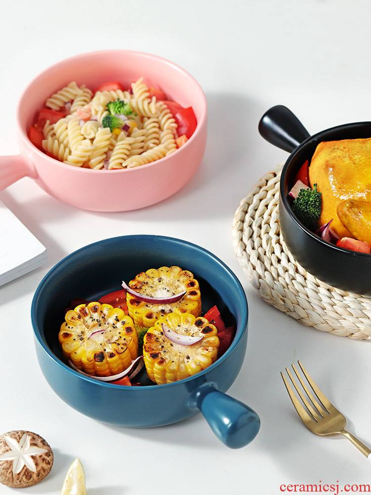 With the handle roasted bowl individual creative move ceramic home baking breakfast Japanese fruit salad oven tableware web celebrity
