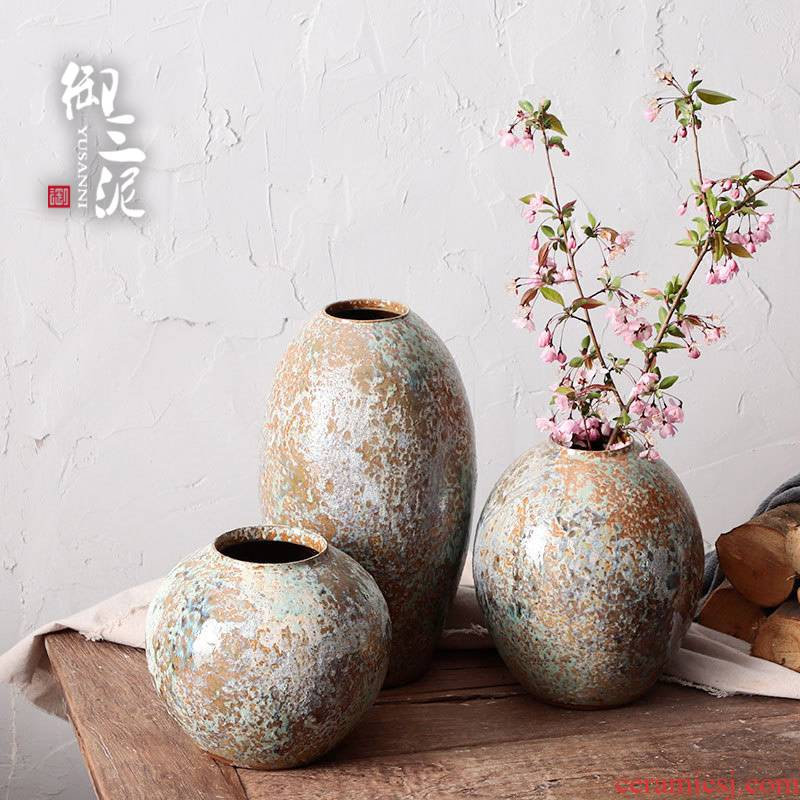 Jingdezhen ceramic dry flower vase hand made Japanese teahouse zen flower - pot manual TaoHua much flesh POTS