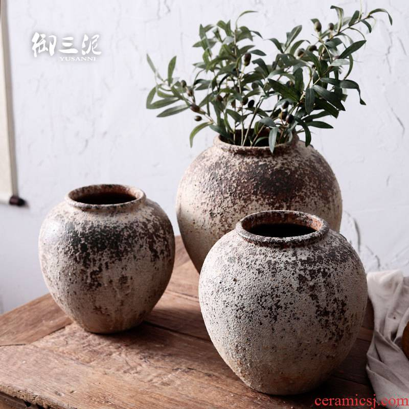 Gardening waterscape meaty plant pot porous permeability restoring ancient ways clay coarse pottery dried flower decoration vase furnishing articles