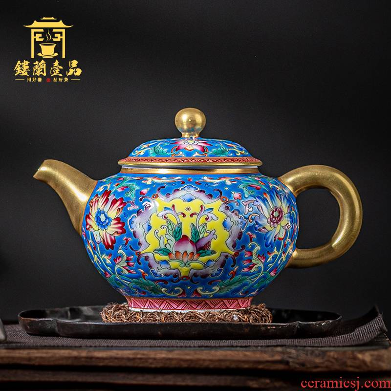 Jingdezhen ceramic all hand colored enamel bound branch ewer household utensils large tea to filter the teapot