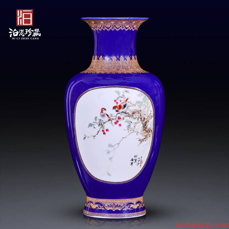 Jingdezhen ceramics hand - made heavy industry offering blue dress painting of flowers and Chinese style household adornment rich ancient frame vase furnishing articles