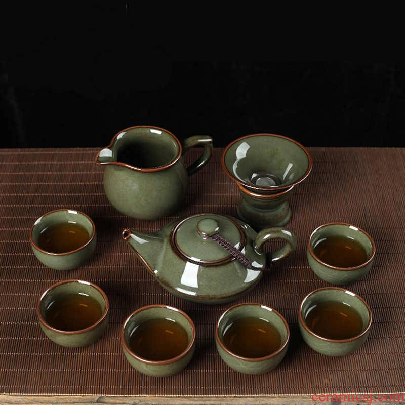 QY poly real scene celadon tire iron teapot kung fu tea sets elder brother up with household cup tea gift box of a complete set of gift