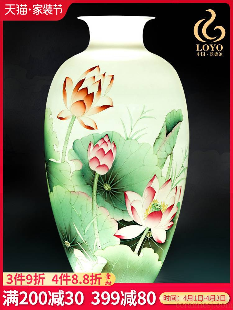 Jingdezhen ceramics furnishing articles hand - made one hundred good vase sitting room of Chinese style household adornment wedding gift