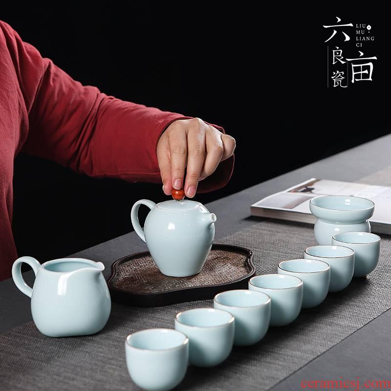 Blue white porcelain kung fu tea set GaiWanCha way teapot teacup household shadow Blue glaze of a complete set of contracted ceramic tea set