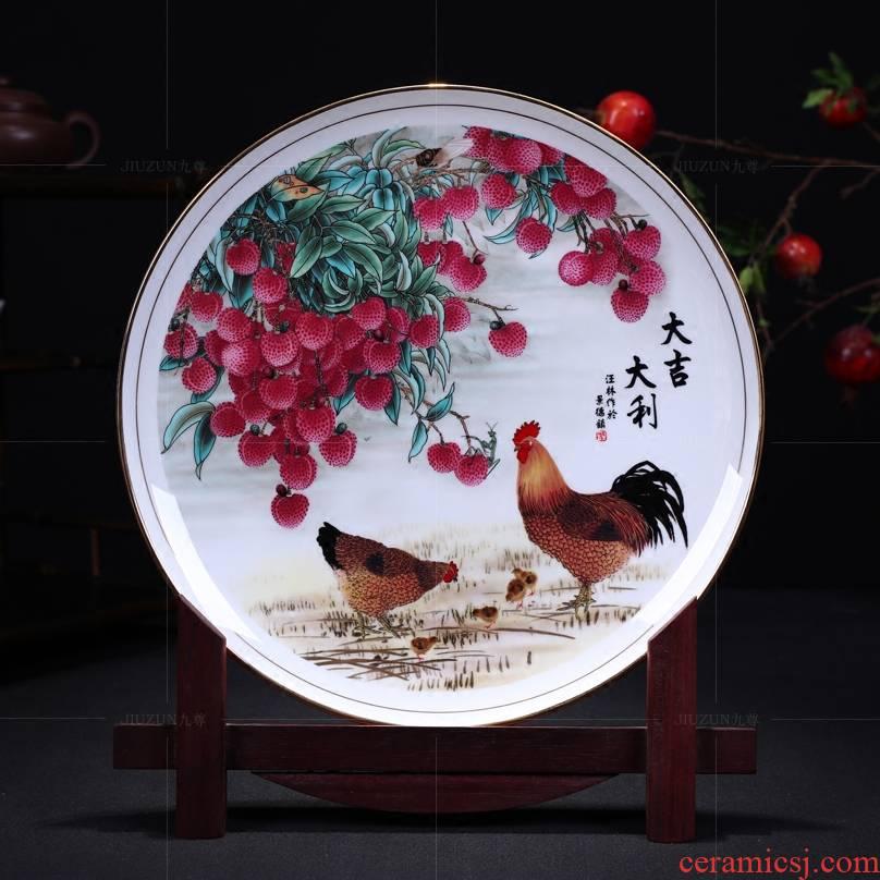 Jingdezhen ceramics decoration hanging dish see prosperous modern Chinese style living room sat dish dish handicraft