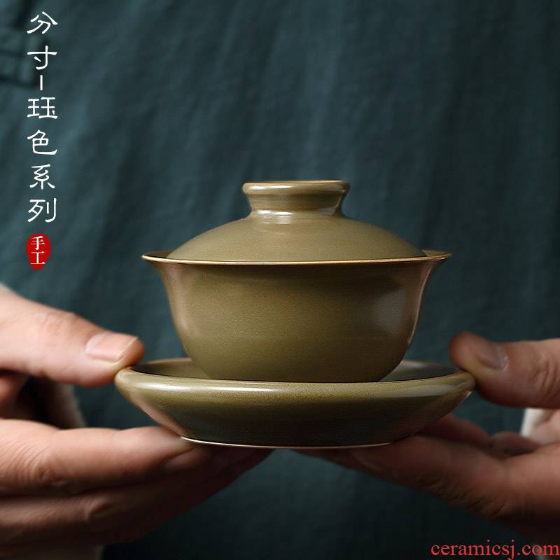 Jingdezhen measured cloud cloud 】 【 Jue color series capacitors if tureen all hand three bowls of household ceramic tea set