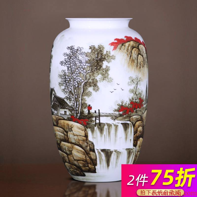 Jingdezhen ceramics vase landing place, a large sitting room flower arranging hand - made under glaze color crafts household act the role ofing is tasted