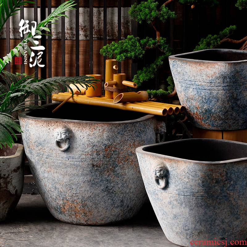 Restore ancient ways of archaize ceramic big cylinder coarse pottery manual water basin water pot fish tank floor furnishing articles courtyard garden