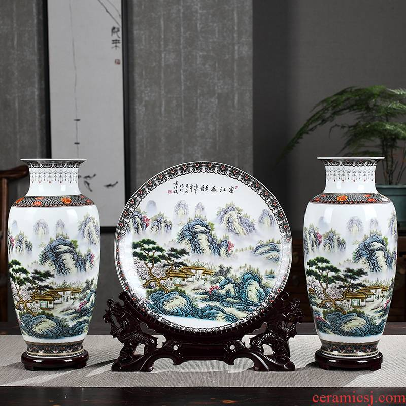 Large blue and white porcelain vase furnishing articles sitting room flower arrangement of three - piece ceramics I and contracted French decorative arts and crafts