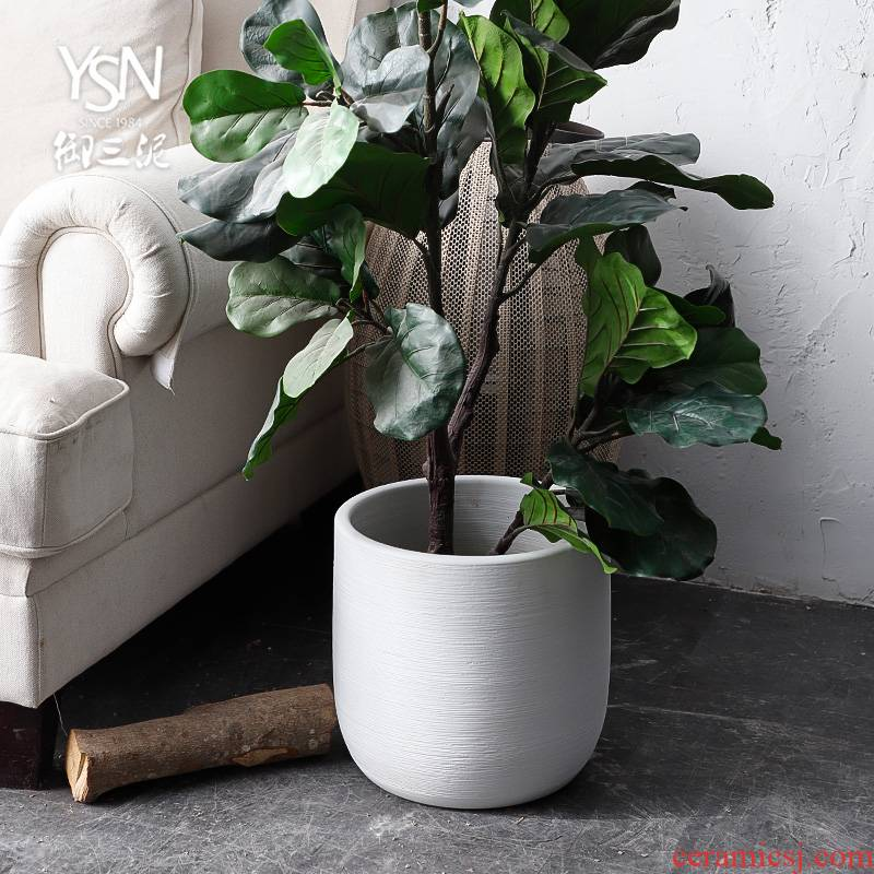 Nordic flowerpot vase I and contracted white black ceramic green plant hydroponic large - diameter cylinder indoor plant decoration