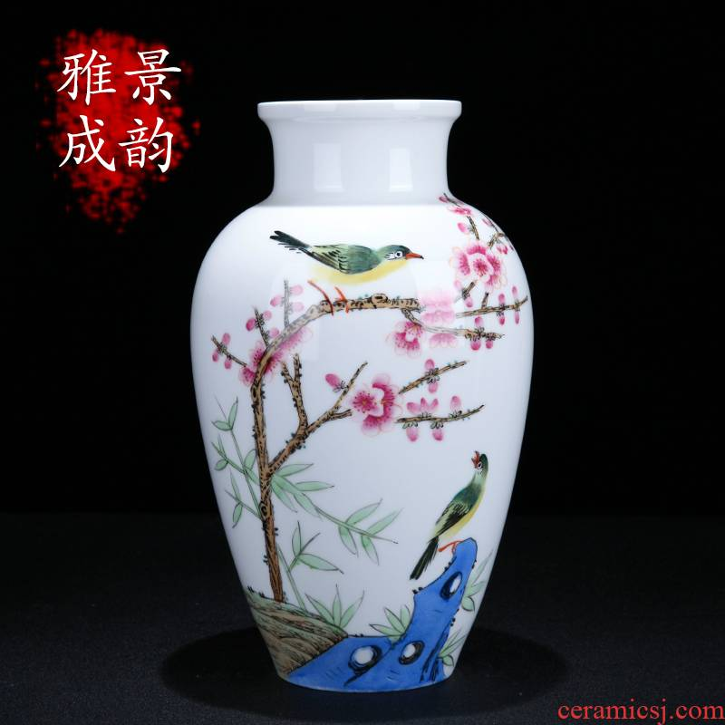 Jingdezhen ceramic new Chinese style beaming flower vase hand - made home sitting room porch decoration furnishing articles