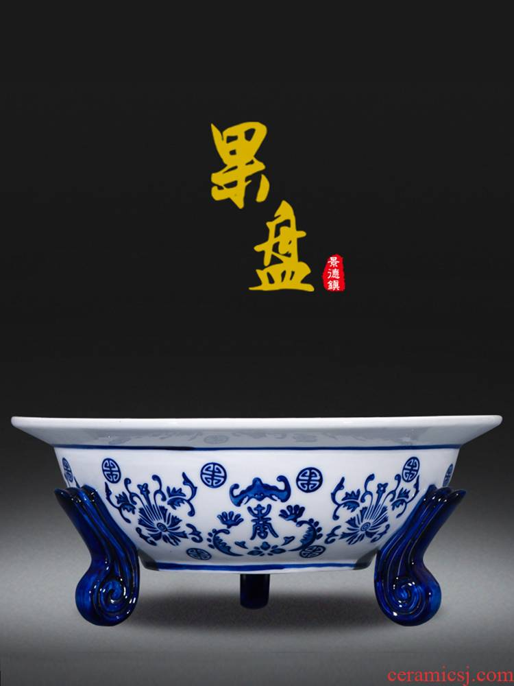 Jingdezhen ceramics creative triangle basket of fruit snacks food of blue and white porcelain basin of Chinese style classical hollow out home
