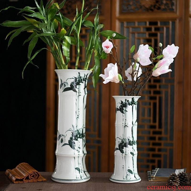 Jingdezhen ceramic lucky bamboo vase furnishing articles home sitting room tall, landing a hydroponic flowers flower arrangement ornaments