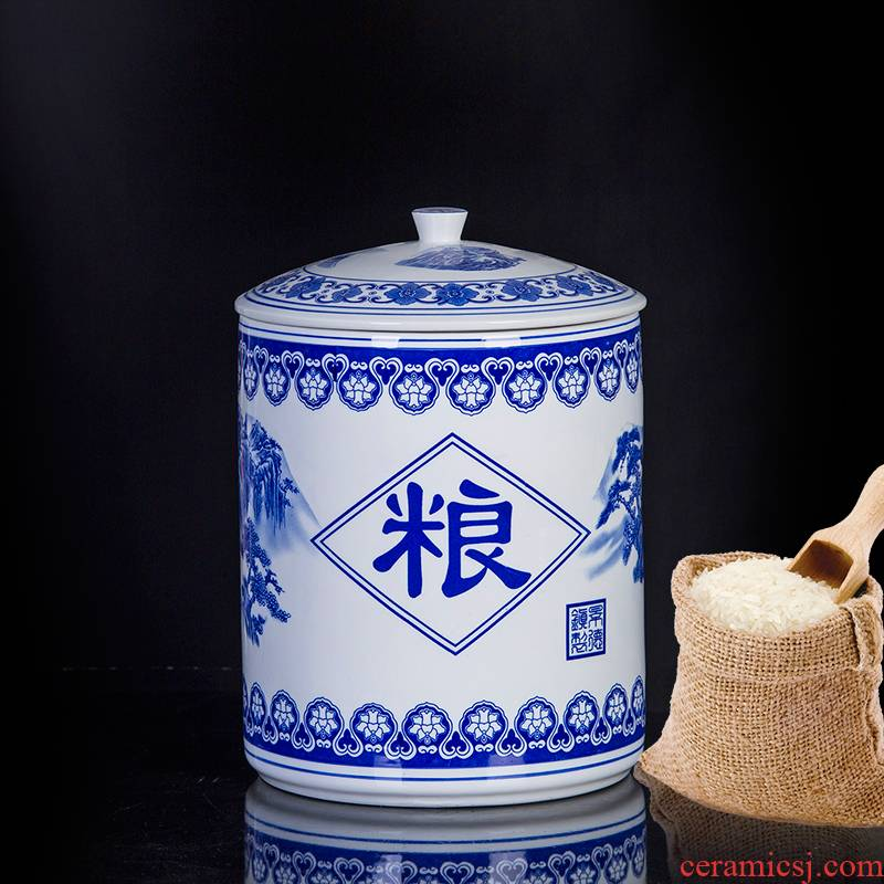 Ceramic barrel ricer box meter box with cover 20 jins of 50 kg household storage tank large blue and white porcelain is placed moistureproof insect - resistant