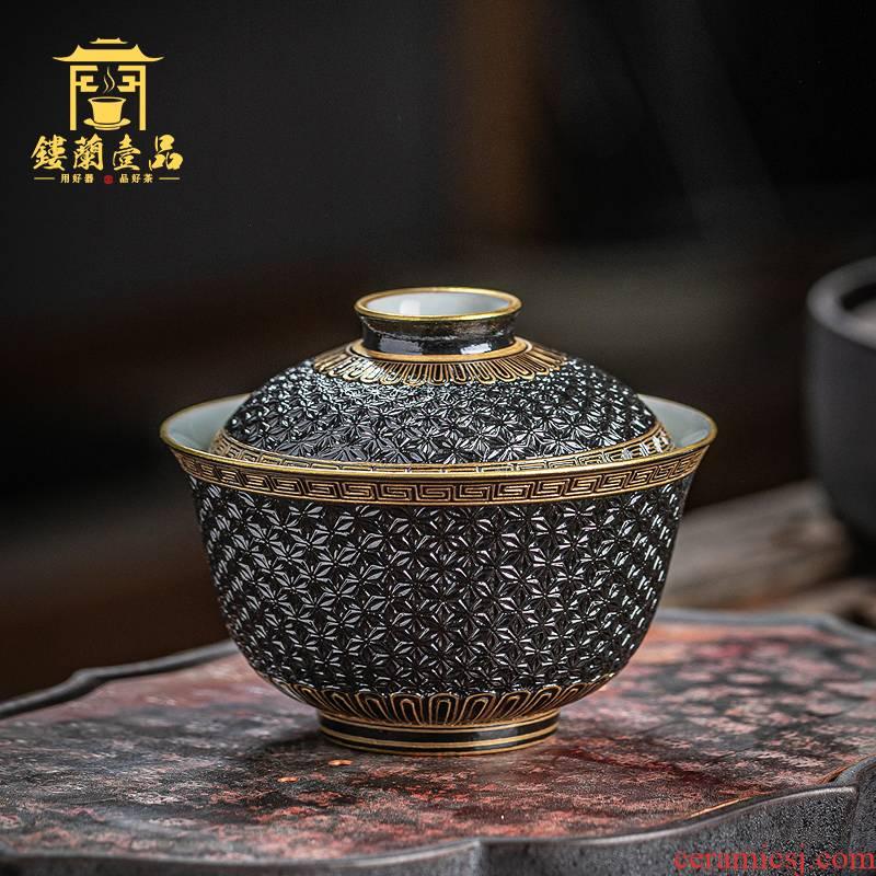 Manual old black glaze see hand - cut tureen single kung fu tea bowl suit household jingdezhen tea cups