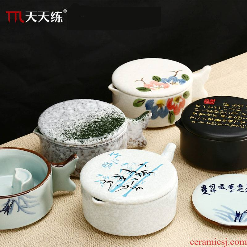 Practice everyday multi - purpose ceramic the inkwell ink dish imitation porcelain ink fountain pen writing frame creative pipa with cover the traditional Chinese painting ink stone calligraphy Practice writing brush with lick of ink cartridge plate of four treasures of the study supplies