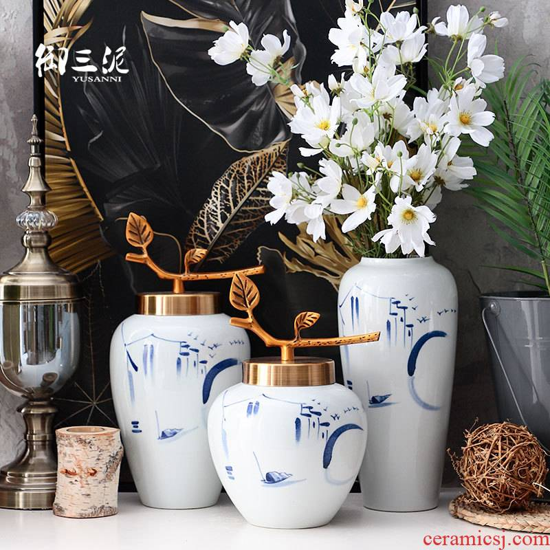 New Chinese style is I and contracted sitting room flower arranging furnishing articles table decorations household jingdezhen ceramic dry flower vase