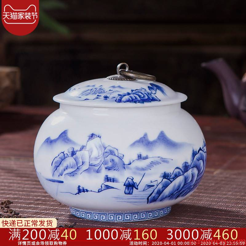 Jingdezhen ceramic seal ring cooper of blue and white porcelain tea pot with cover storage tanks with pu 'er tea tea pot