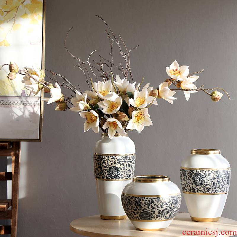 New Chinese style furnishing articles ceramic vase Nordic creative contracted sitting room small flower arranging fresh ground decoration household act the role ofing is tasted