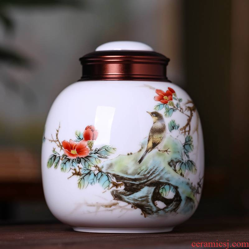 Jingdezhen ceramic tea pot small half jins of the tea sets huai sealed jar portable household moistureproof POTS