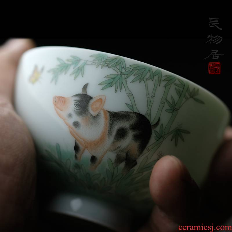 Limited view of flavor blessing blessing pig cup pig year zodiac glass of jingdezhen hand - made famille rose porcelain cups
