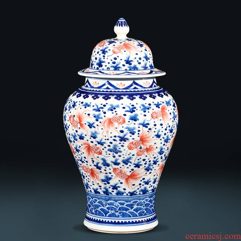 Jingdezhen ceramics hand - made general blue and white porcelain jar of storage tank sitting room of new Chinese rich ancient frame is placed in the living room