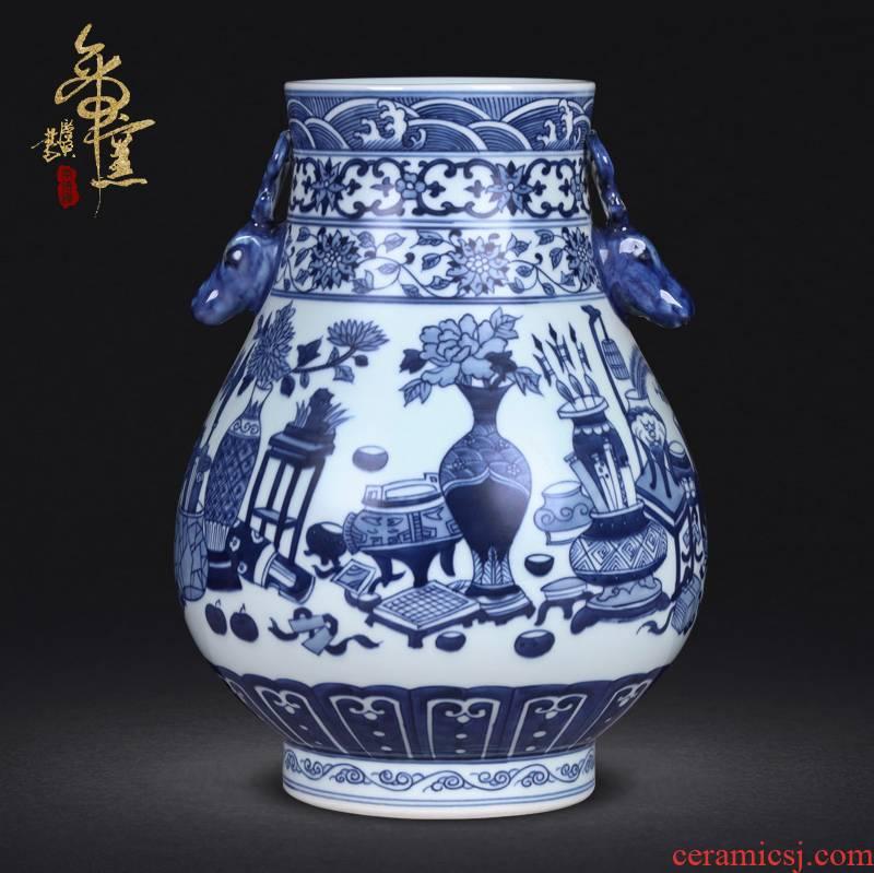 Antique hand - made double listen barrels of jingdezhen ceramics of blue and white porcelain vases, flower arrangement sitting room adornment handicraft furnishing articles