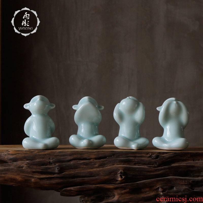 The rain tong home | shadow green craft porcelain of jingdezhen ceramics sitting room sex contributor monkey ceramic decorative furnishing articles