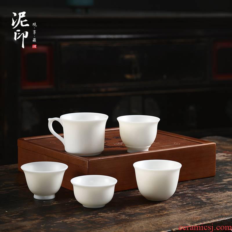 Mud seal dehua white porcelain ceramic with the master sample tea cup cup single cup large kung fu tea cups can be customized gift boxes